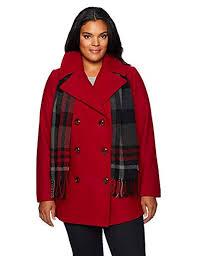 london fog women s red plus size double ted peacoat