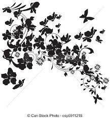 シルエット 桜の木 イラスト 蝶 背景 白い花