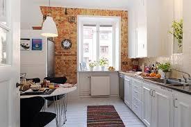 swedish kitchen design ideas with modern bar stools bare brick wall simple chandelier swedish kitchen