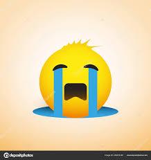 Crying Sad Emoji Funny Hair Simple Emoticon Yellow