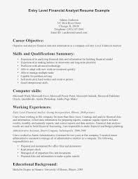 Cover Letter For Entry Level Financial Analyst Entry Level Financial Analyst Resume