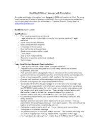 Cook Job Description Resume Excellent Cook Job Duties For Resume Gallery Professional Resume 42