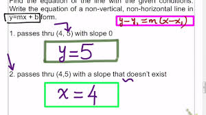 how do you write an equation in point slope form from a graph
