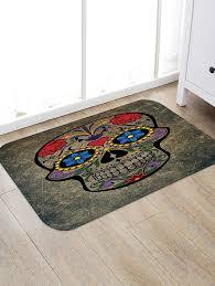 sugar skull pattern water absorption area rug