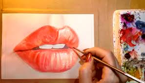 elish the left side as the shadowed side by adding alizarin crimson and cadmium red light the lip area should still be wet which will make your lines
