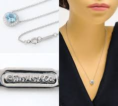 tiffany co soleste aquamarine diamond platinum 950 pendant necklace reebonz brunei darussalam