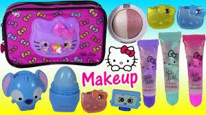o kitty makeup bag lip gloss lip smacker eyeshadow kins disney princess beauty fun