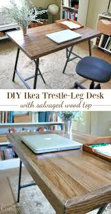 How to make an rustic industrial style desk with Ikea trestle legs and  salvaged wood flooring