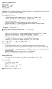 Mcdonalds Cashier Resume Resume Examples Mcdonalds Cashier Objective Example Cashi