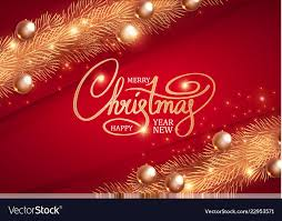 Christmas Design Template Merry Christmas Elegant Design Template Gold Fir Vector Image