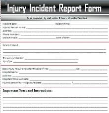 Child Care Incident Report Example Incident Report Sample Template Form Health Care