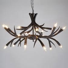 lario 2 tier black chocolate resin deer antlers chandeliers with 18 candelabra lights