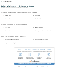 Hpa Axis Quiz Worksheet Hpa Axis Stress Study Com