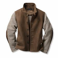 men s chamois tanned deer leather and boiled wool jacket brown