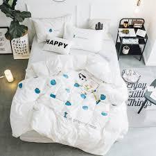 100 cotton soft bed set blue apple embroidery white bedding set twin queen king size for girls duvet cover bed fit sheet set duvet sheet black white duvet
