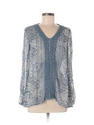 Details About Knox Rose Women Blue Long Sleeve Blouse M