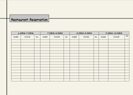 Table Reservation Template Restaurant Spreadsheets Then Table Reservation Template To