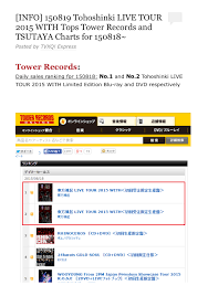 Tower Records Chart Tohoshinkis Live Dvd 1 2 In Tower Records Japanese