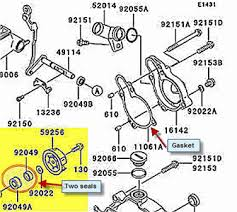 how to replace the seals behind water pump on kawasaki fixya go to the site below where you can see a parts diagram for your specific bike you will select the actual brand year model etc once you go to the site