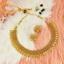 Necklace Design Picture One Gram Gold Antique Polish Daily Wear Classical Collection Design Necklace Set Koorgi Pattren Nlf03 297 699n