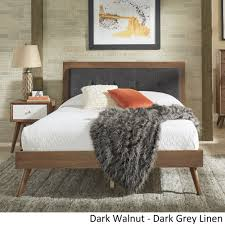 Sylvia Queen Size Mid-Century Tufted Linen and Wood Bed by iNSPIRE Q Modern  - Free Shipping Today - Overstock.com - 23876891