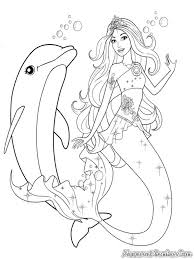 Mermaid Playing with Dolphin Coloring Page - Free & Printable ...