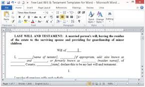 word microsoft templates free last will and testament template for word