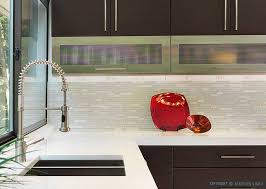 glass kitchen tiles. Top Kitchen Backsplash Glass Brown Modern Cabinets White Marble Tiles