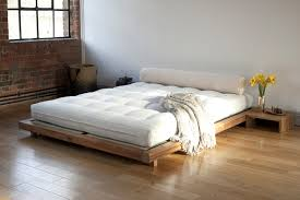 Glancing Unvarnish Wooden Platform Bed As Wells As Brick Wall As Well As  Japanese Style Platform