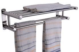 towel storage rack. AGPtEK® Double Rows Wall Mounted Bathroom Towel Rail Holder Storage Rack Shelf Stand M