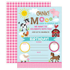 Birthday Invatations Farm Birthday Invitation Girl Barnyard Invites Farm Birthday Party Girls Barnyard Birthday Invite 20 Fill In Pool Party Invitations With Envelopes