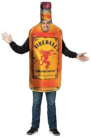 Rasta Imposta Get Real Photo Realistic Printed Licensed Fireball Cinnamon Liquor Whiskey Bottle Licensed Costume Outfit For Men And Women One Size