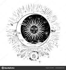 лицо солнце месяц звезды масонской тату дизайн футболки алхимия