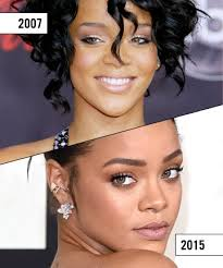 eyebrow microblading celebrities. rihanna then: the brows are too far apart and curl under at end -- a very unnatural shape. eyebrow microblading celebrities l