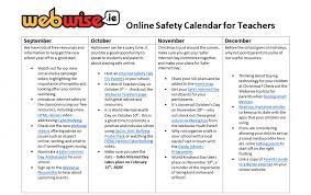 Online Safety Calendar 2019 2020