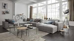 Interliving Sofa Serie 4100 Wohnlandschaft Hellgrauer
