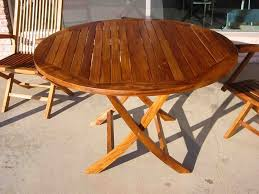 round patio dining table wooden
