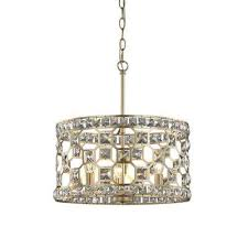 paris 3 light champagne gold with clear crystal pendant