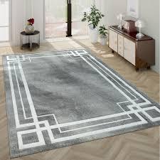 Kurzflor Teppich Modern Bordüre Grau Weiß