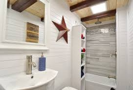 mixed tile n tiny house bathroom shower