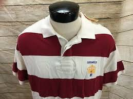 new cremieux polo rugby shirt red white striped mens xl