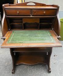 antique vintage wood roll top desk w