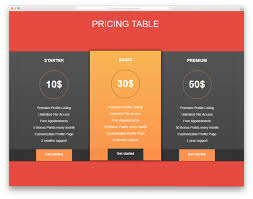 Pricing Templates For Services 33 Best Css Table Templates For Creating Appealing Tables 2019