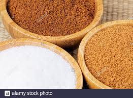 Dark Brown To Light Brown Sugar Three Wooden Bowls Of Different Sugars Light Brown Sugar