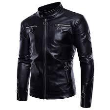 details about mens black leather motorcycle biker jacket fashion slim short coat punk ovrecoat