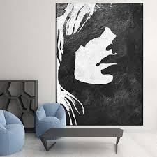 black white minimalist abstract painting woman face silhouette  on black woman silhouette wall art with best silhouette acrylic paintings products on wanelo