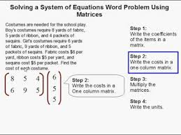 matrix word problems worksheet jobs
