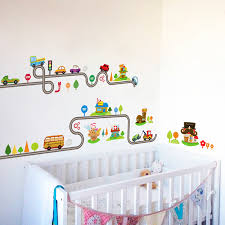 Us 0 65 35 Off Cartoon Cars Highway Track Wall Stickers For Kids Room Play Room Decoration Growth Chart Pvc Decor Diy Animals Wall Art Decals In