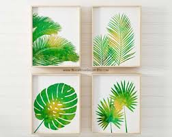 tropical palm print set green wall art tropical wall art palm wall art tropical home decor set of four on green wall art decor with green wall art etsy