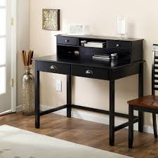 hutch modern black computer desk writing u shaped black wooden desk with storage and silver metal banisters